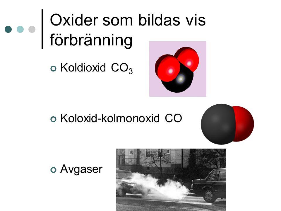 Oxider som bildas vis förbränning