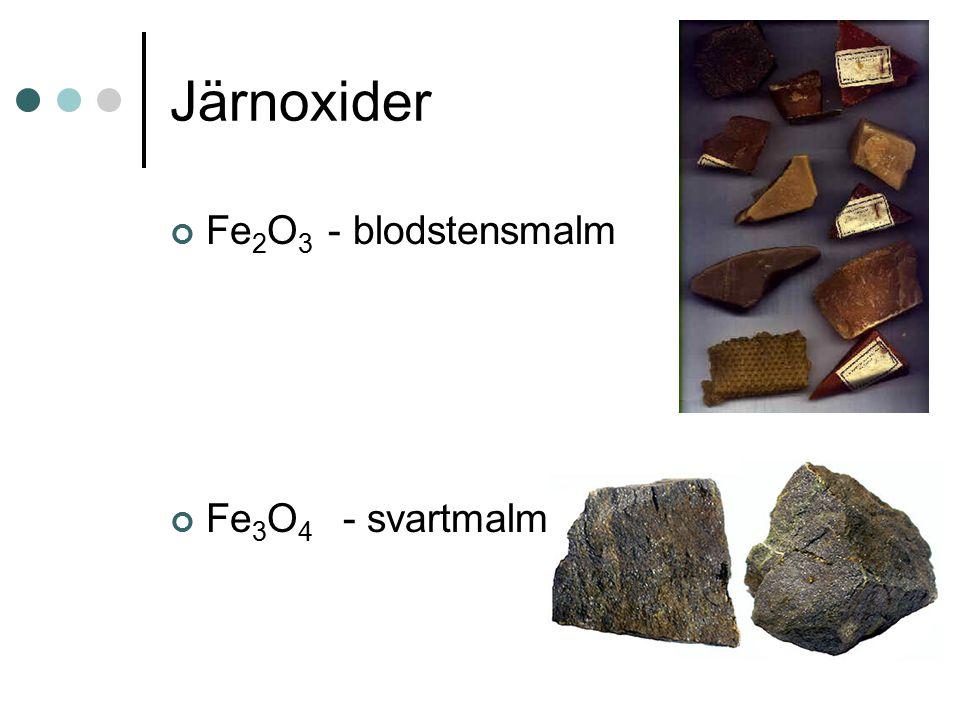 Järnoxider Fe2O3 - blodstensmalm Fe3O4 - svartmalm