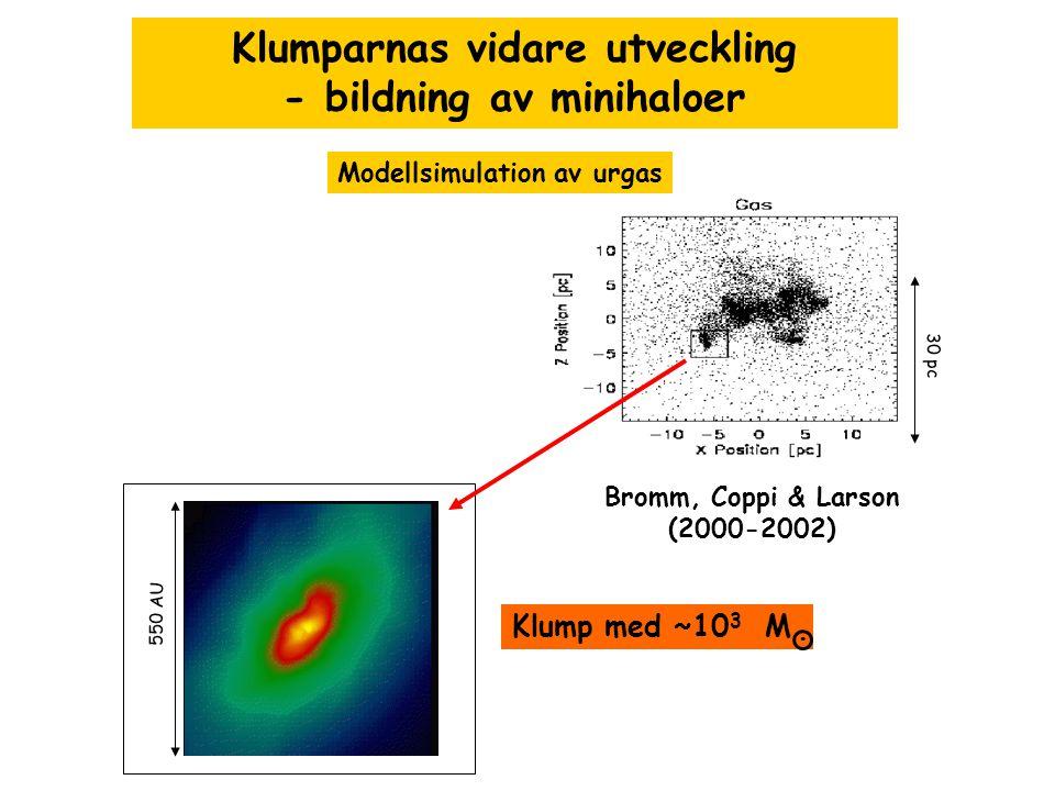 Klumparnas vidare utveckling - bildning av minihaloer