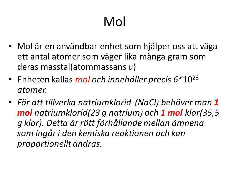 Mol Mol är en användbar enhet som hjälper oss att väga ett antal atomer som väger lika många gram som deras masstal(atommassans u)