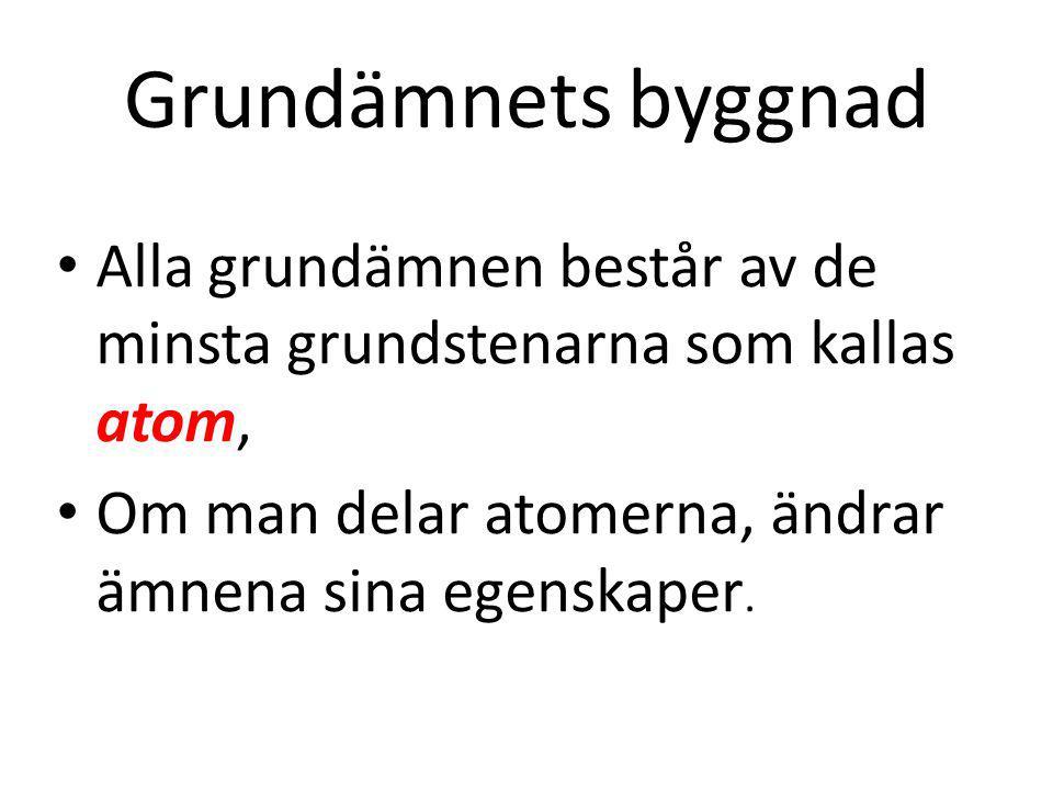 Grundämnets byggnad Alla grundämnen består av de minsta grundstenarna som kallas atom, Om man delar atomerna, ändrar ämnena sina egenskaper.