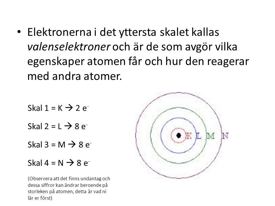 Elektronerna i det yttersta skalet kallas valenselektroner och är de som avgör vilka egenskaper atomen får och hur den reagerar med andra atomer.