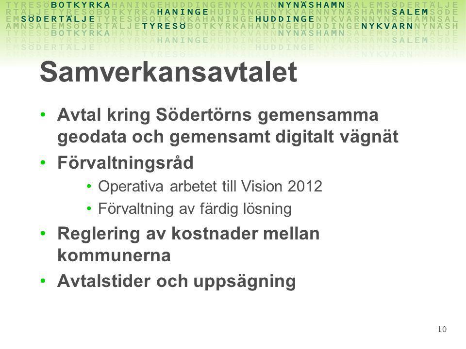 Samverkansavtalet Avtal kring Södertörns gemensamma geodata och gemensamt digitalt vägnät. Förvaltningsråd.