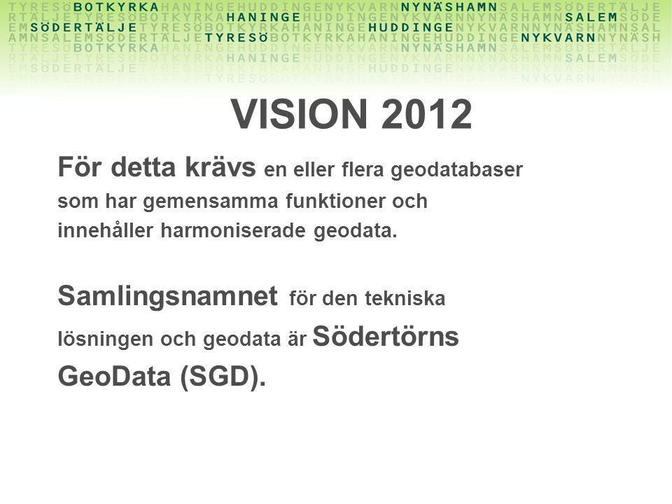 VISION 2012 För detta krävs en eller flera geodatabaser