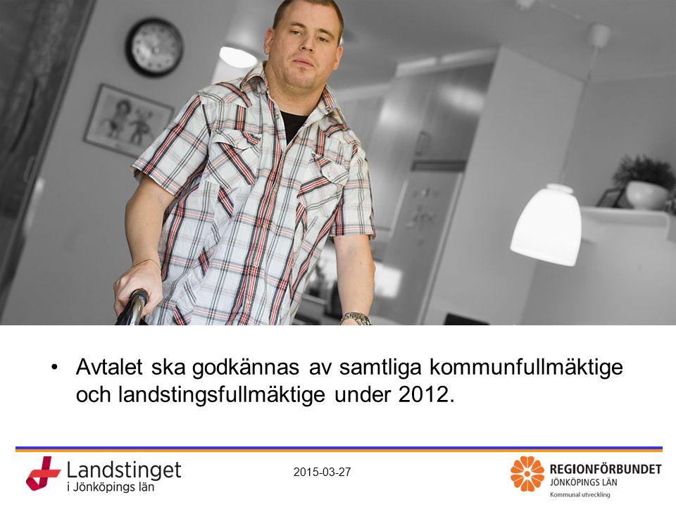 Avtal Avtalet ska godkännas av samtliga kommunfullmäktige och landstingsfullmäktige under 2012.