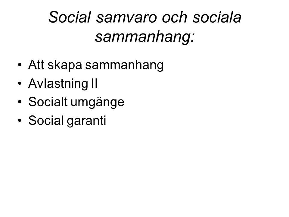 Social samvaro och sociala sammanhang: