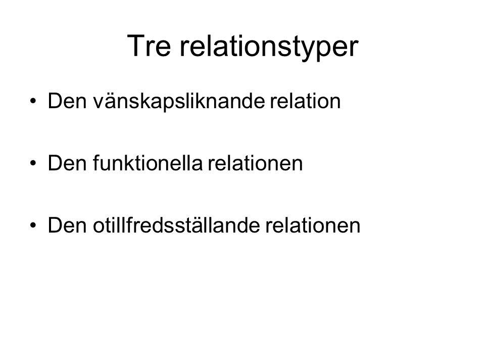 Tre relationstyper Den vänskapsliknande relation