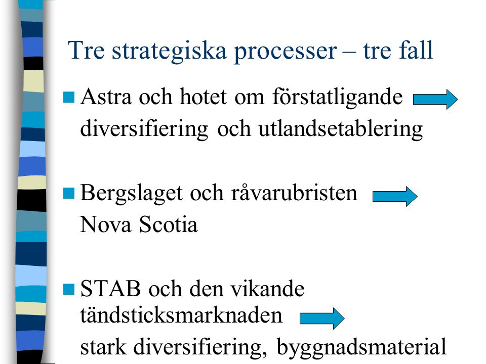 Tre strategiska processer – tre fall