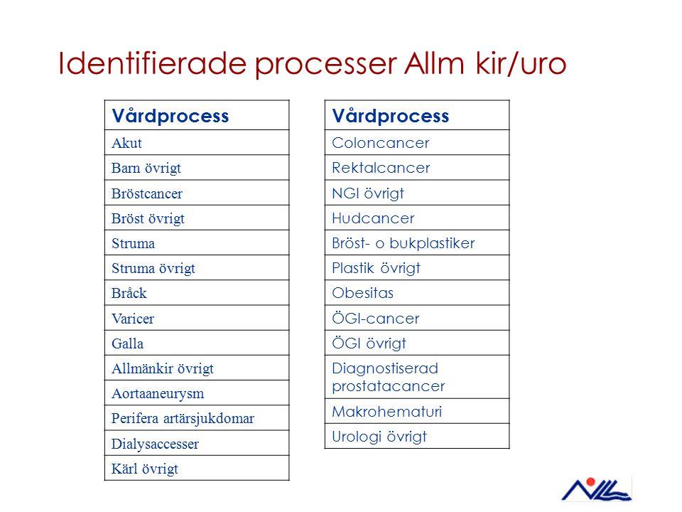 Identifierade processer Allm kir/uro