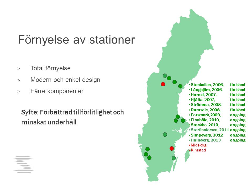 Förnyelse av stationer