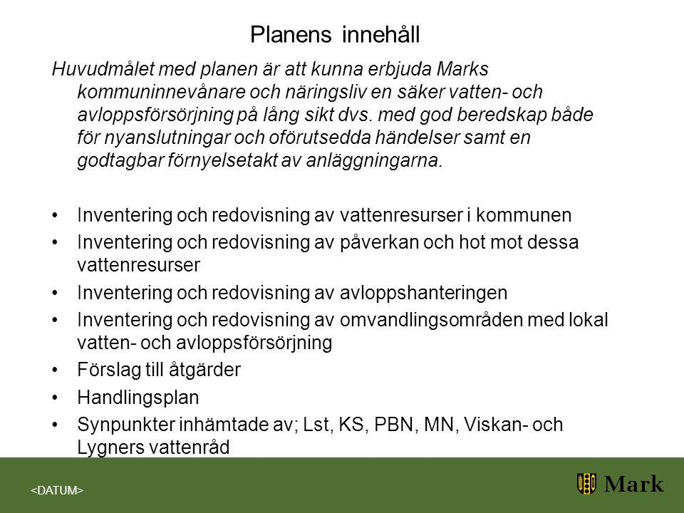 Planens innehåll