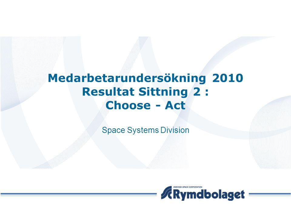 Medarbetarundersökning 2010 Resultat Sittning 2 : Choose - Act