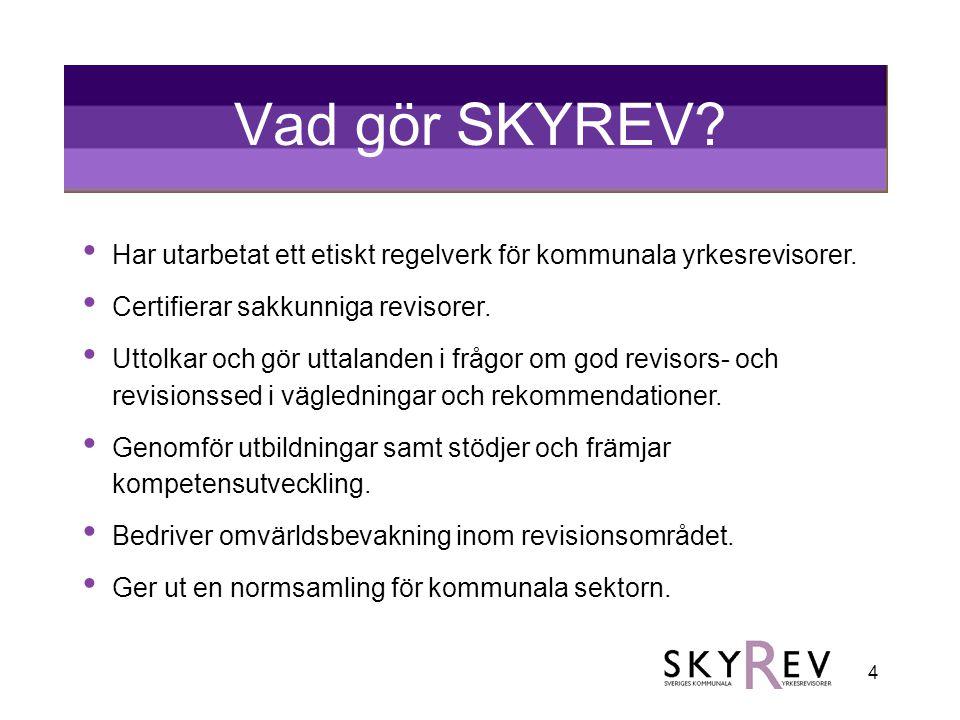 Vad gör SKYREV Har utarbetat ett etiskt regelverk för kommunala yrkesrevisorer. Certifierar sakkunniga revisorer.