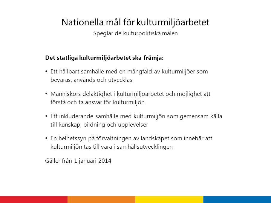 Nationella mål för kulturmiljöarbetet Speglar de kulturpolitiska målen