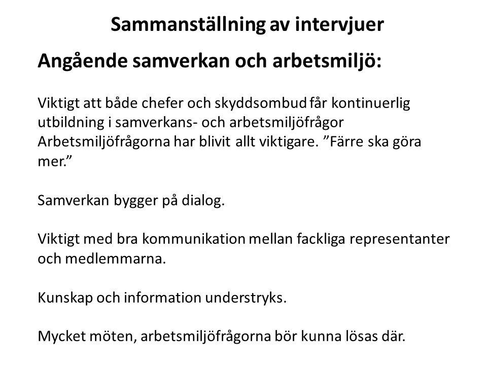 Sammanställning av intervjuer