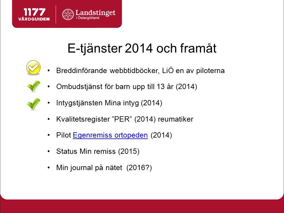 E-tjänster 2014 och framåt Breddinförande webbtidböcker, LiÖ en av piloterna. Ombudstjänst för barn upp till 13 år (2014)