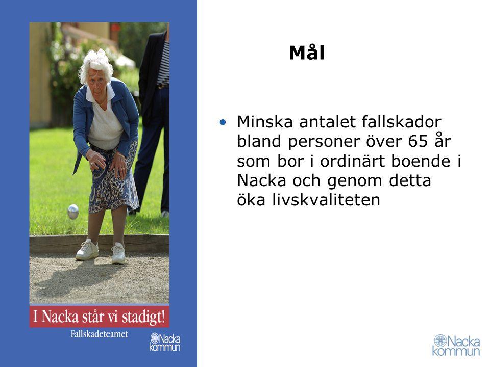 Mål Minska antalet fallskador bland personer över 65 år som bor i ordinärt boende i Nacka och genom detta öka livskvaliteten.