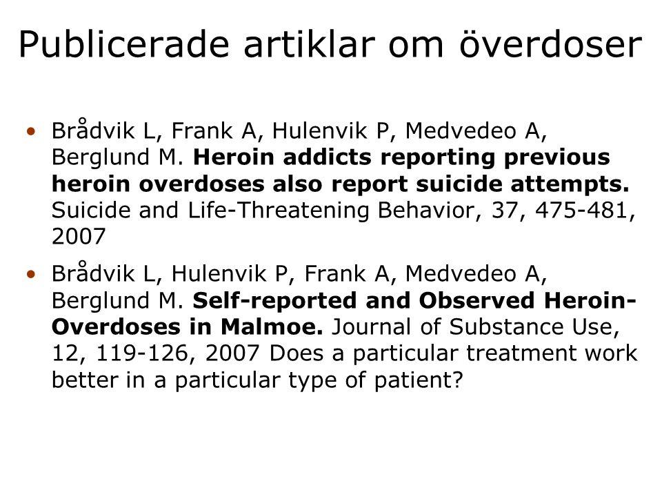 Publicerade artiklar om överdoser
