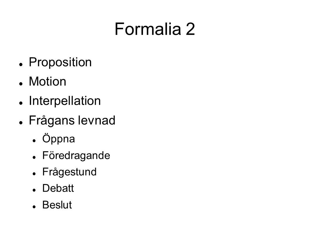 Formalia 2 Proposition Motion Interpellation Frågans levnad Öppna