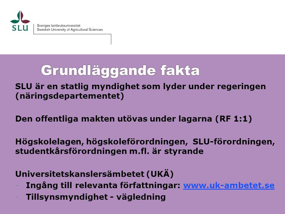 Grundläggande fakta SLU är en statlig myndighet som lyder under regeringen (näringsdepartementet)