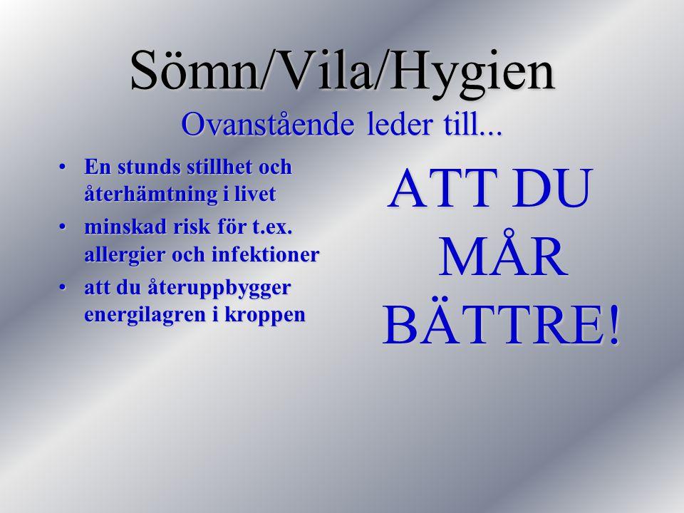 Sömn/Vila/Hygien Ovanstående leder till...