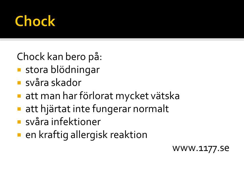 Chock Chock kan bero på: stora blödningar svåra skador