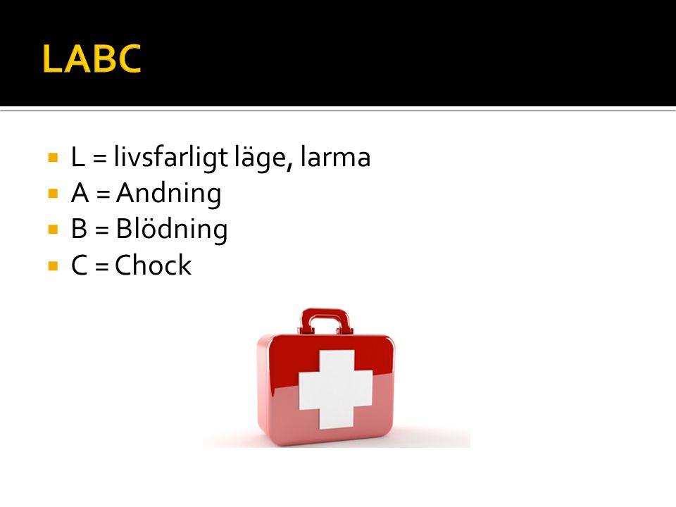 LABC L = livsfarligt läge, larma A = Andning B = Blödning C = Chock