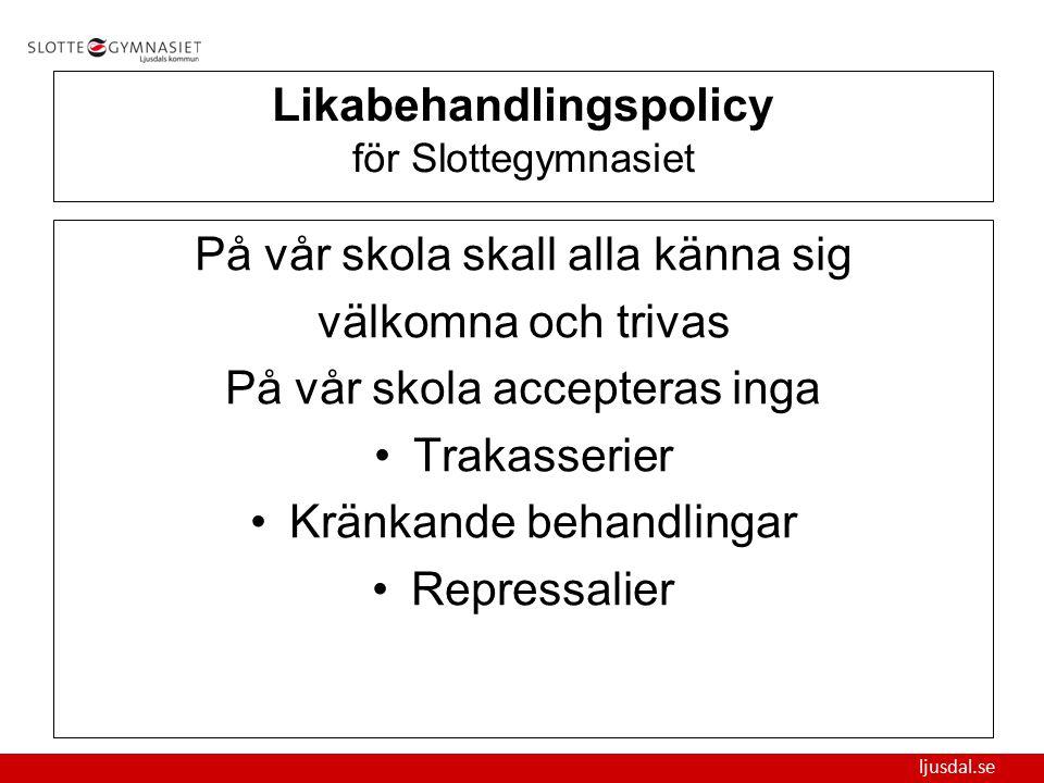 Likabehandlingspolicy för Slottegymnasiet