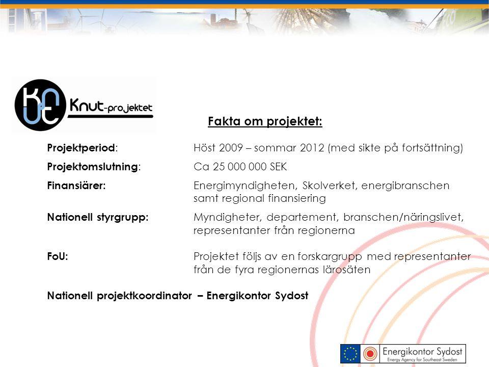 Fakta om projektet: Projektperiod: Höst 2009 – sommar 2012 (med sikte på fortsättning) Projektomslutning: Ca 25 000 000 SEK.
