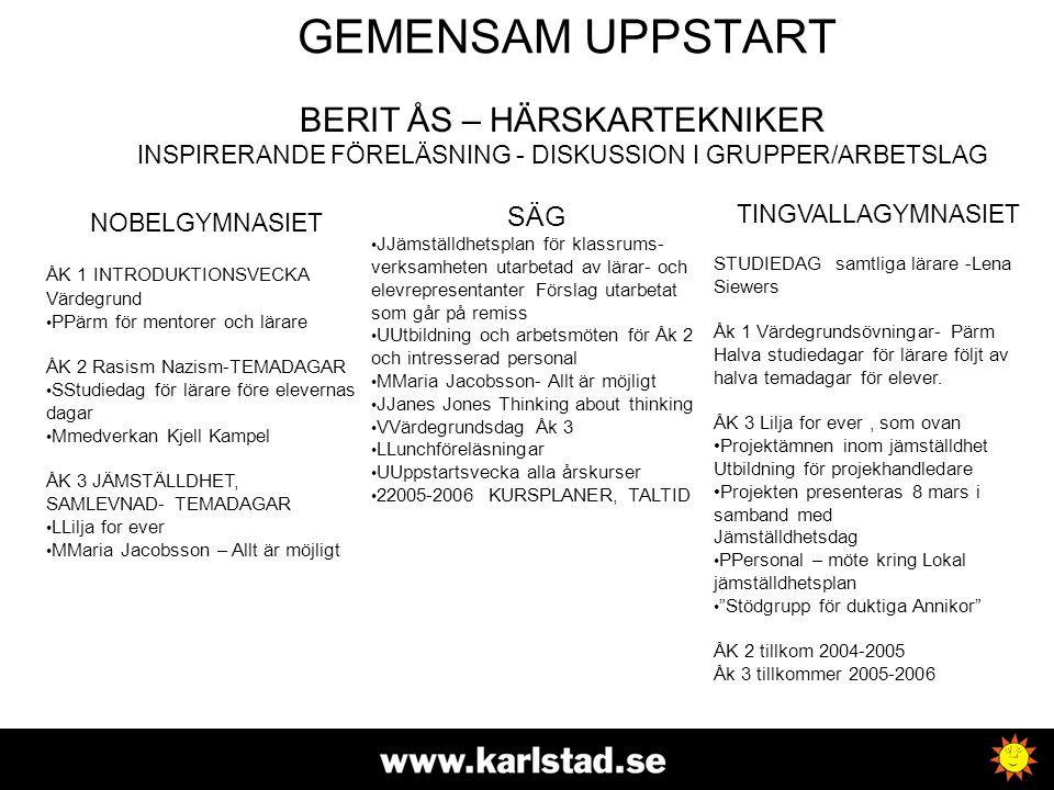 GEMENSAM UPPSTART BERIT ÅS – HÄRSKARTEKNIKER INSPIRERANDE FÖRELÄSNING - DISKUSSION I GRUPPER/ARBETSLAG.