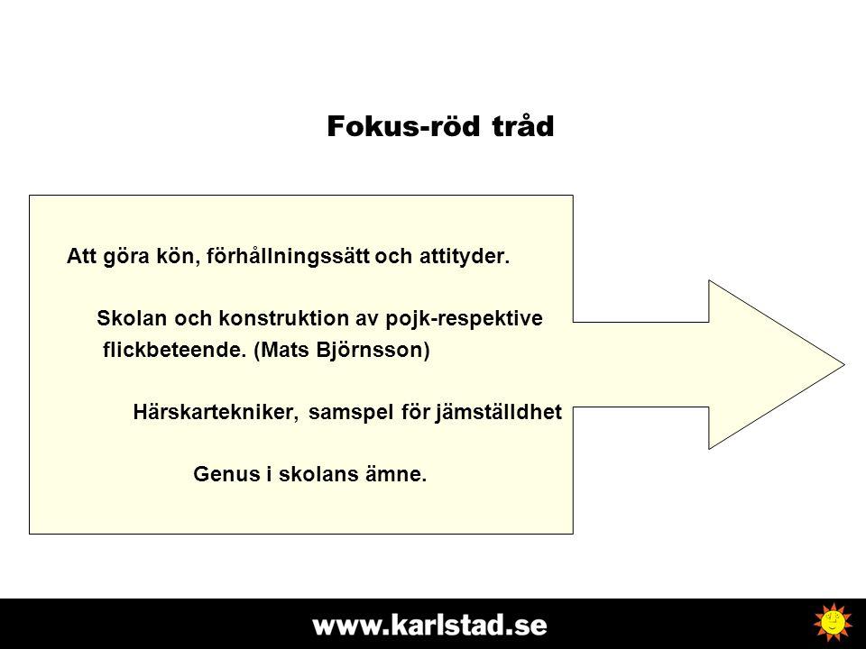 Fokus-röd tråd Att göra kön, förhållningssätt och attityder.