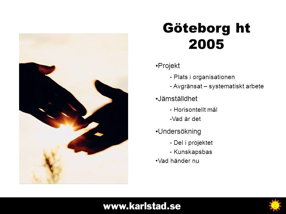 Göteborg ht 2005 Projekt Jämställdhet Undersökning