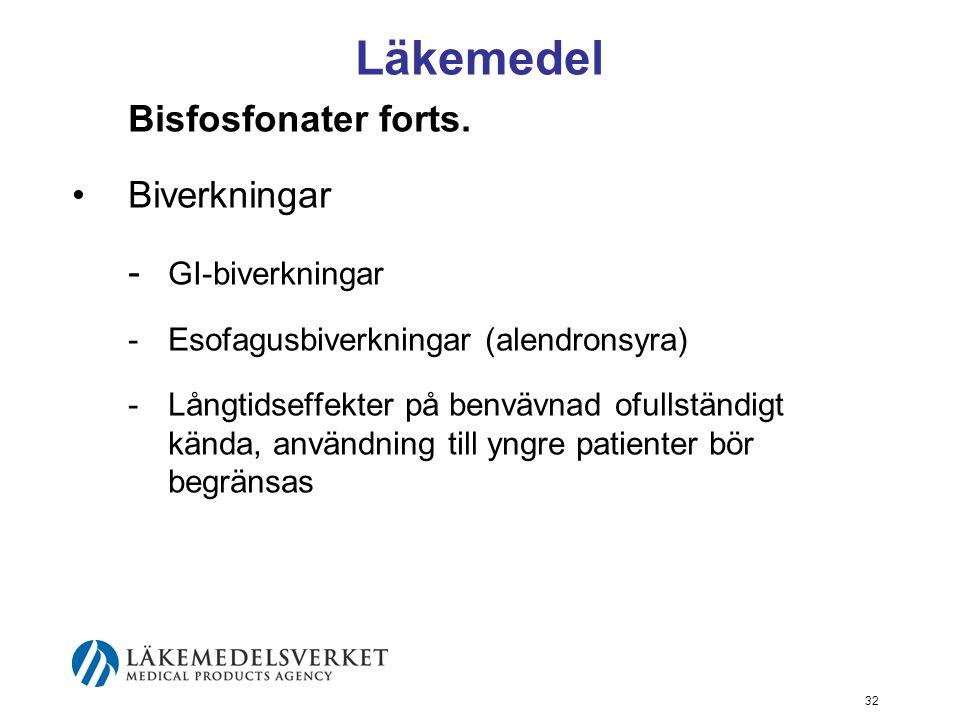 Läkemedel Bisfosfonater forts. Biverkningar - GI-biverkningar