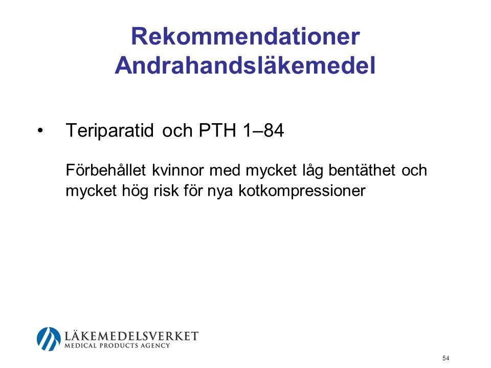 Rekommendationer Andrahandsläkemedel