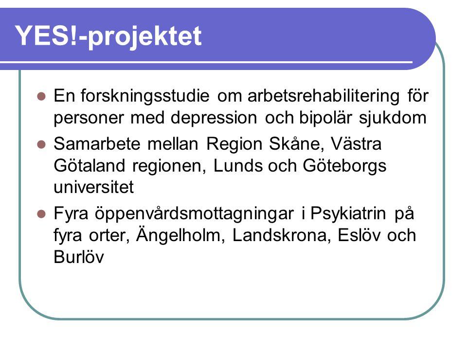 YES!-projektet En forskningsstudie om arbetsrehabilitering för personer med depression och bipolär sjukdom.
