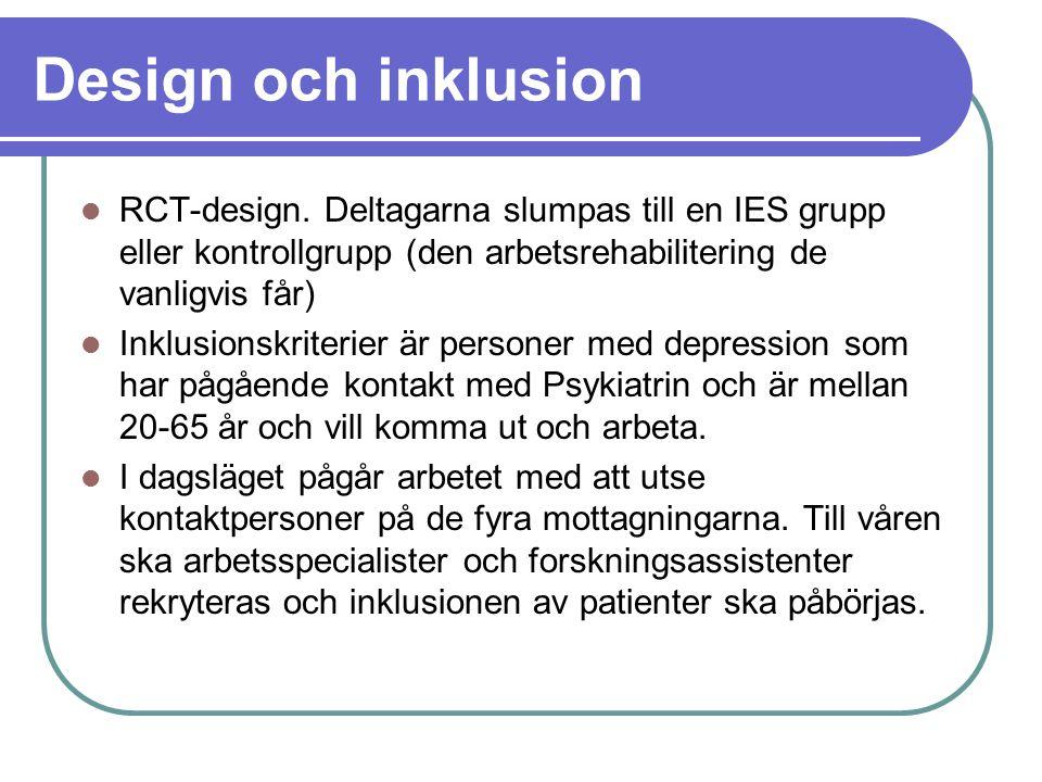 Design och inklusion RCT-design. Deltagarna slumpas till en IES grupp eller kontrollgrupp (den arbetsrehabilitering de vanligvis får)