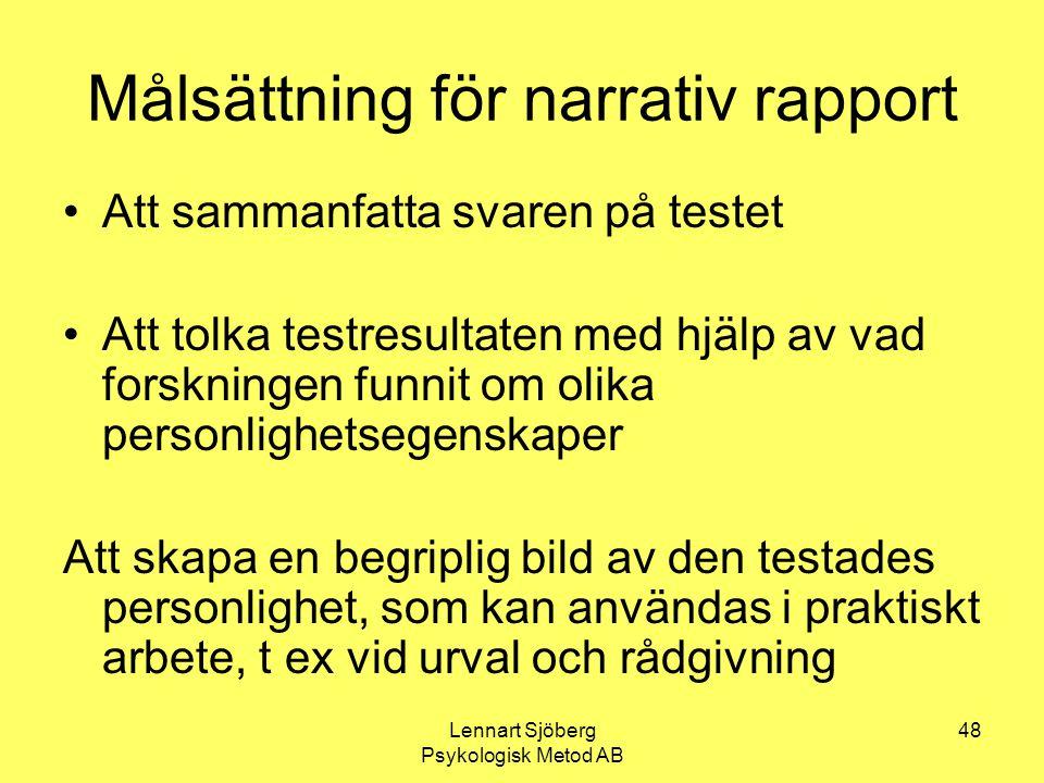 Målsättning för narrativ rapport