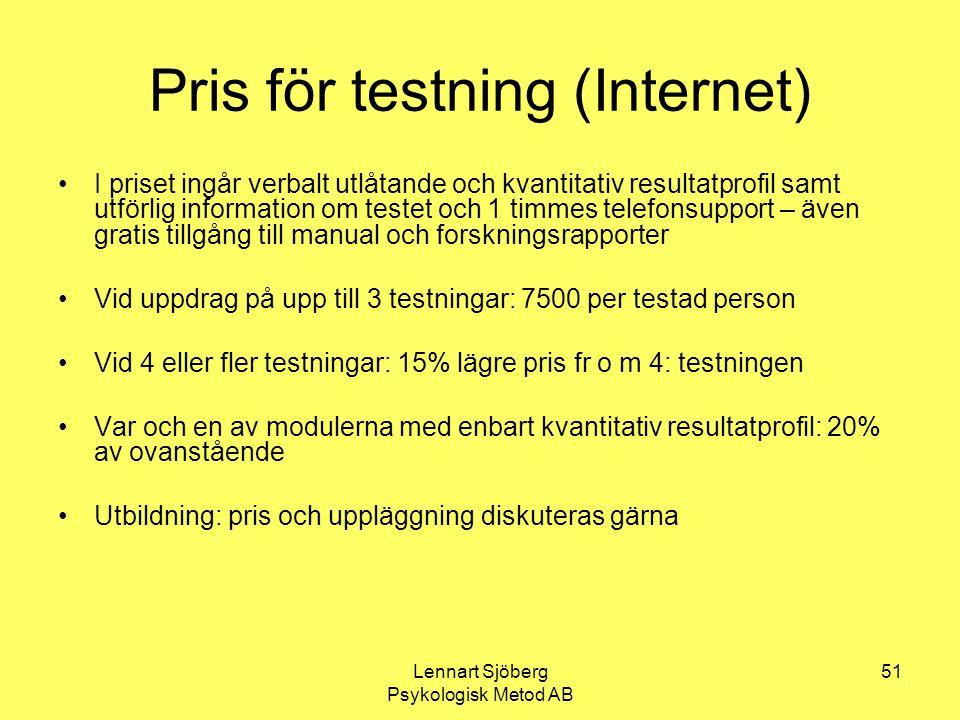 Pris för testning (Internet)