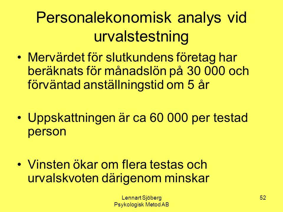 Personalekonomisk analys vid urvalstestning