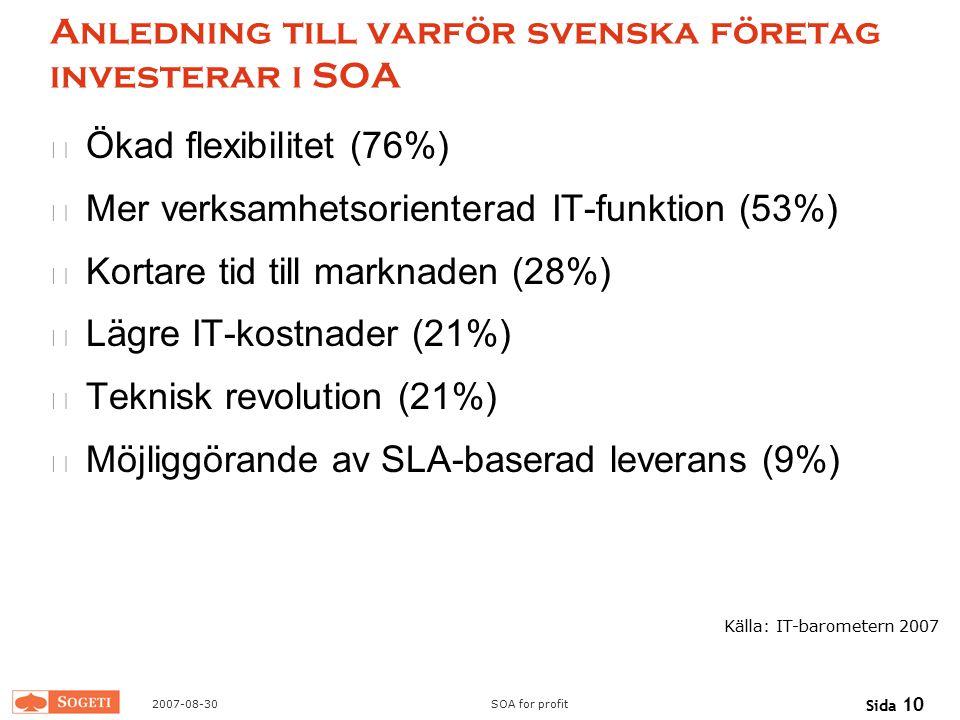Anledning till varför svenska företag investerar i SOA
