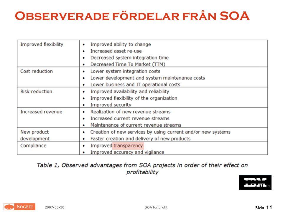 Observerade fördelar från SOA