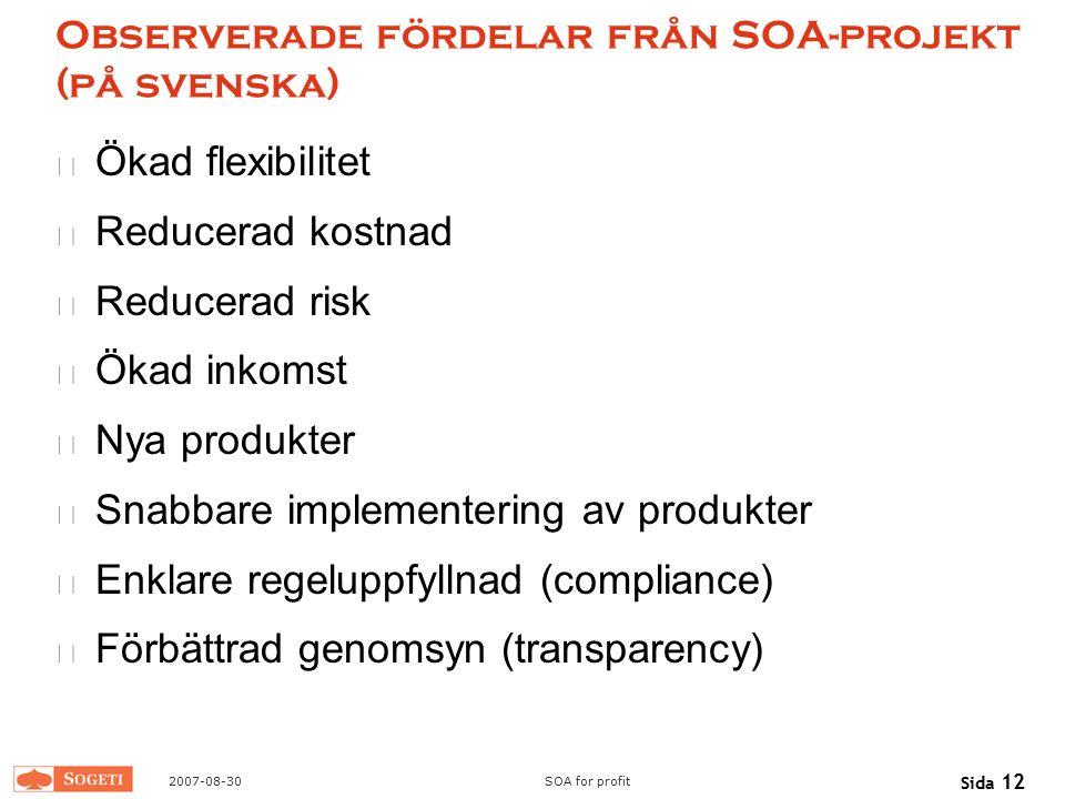 Observerade fördelar från SOA-projekt (på svenska)