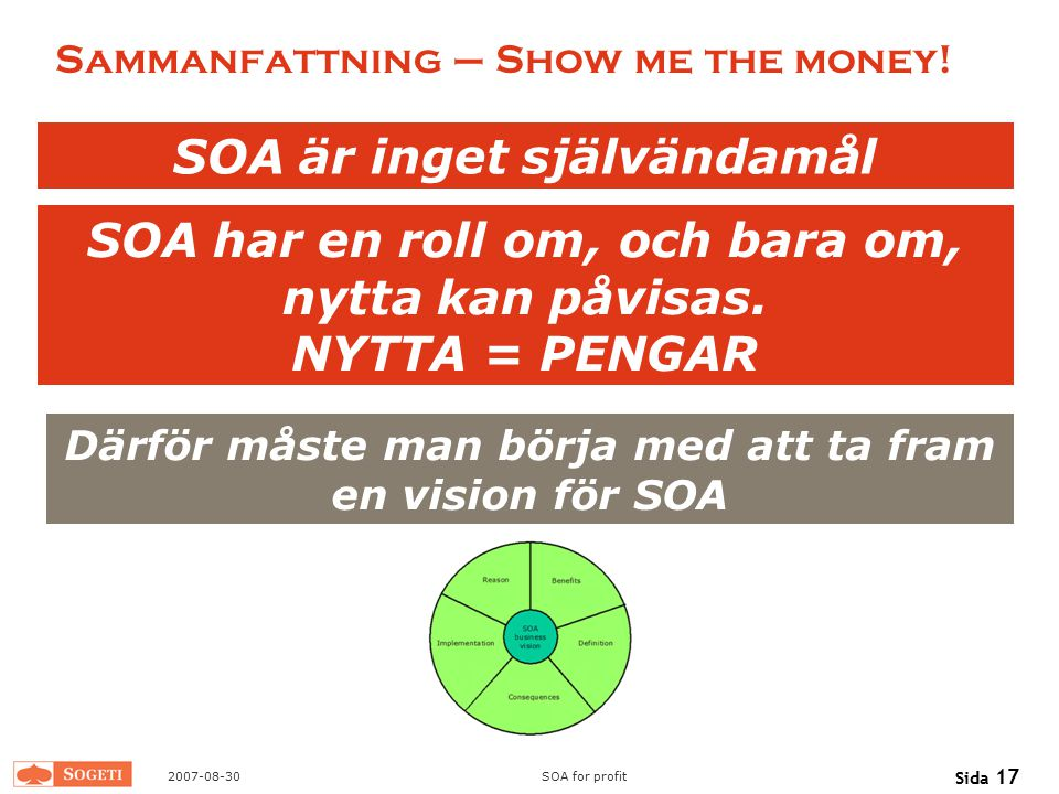 Sammanfattning – Show me the money!