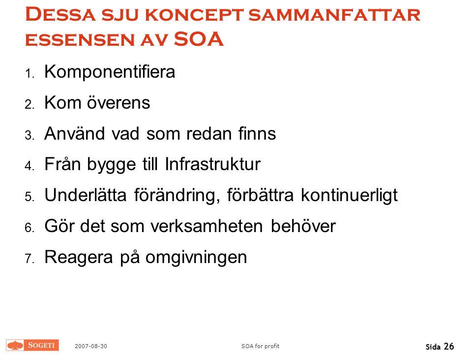 Dessa sju koncept sammanfattar essensen av SOA