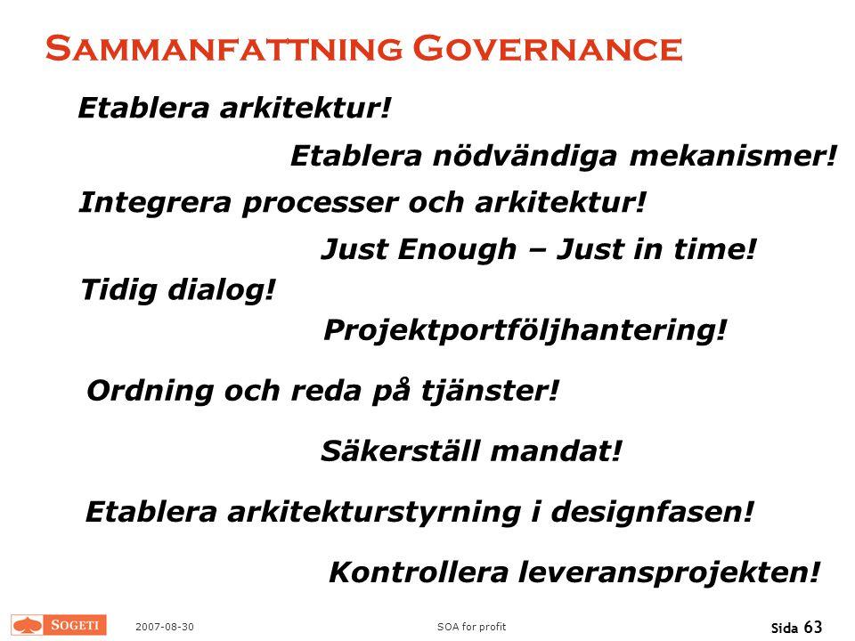 Sammanfattning Governance