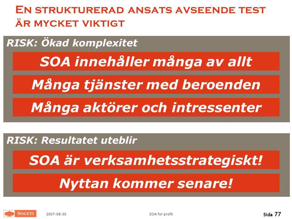 En strukturerad ansats avseende test är mycket viktigt