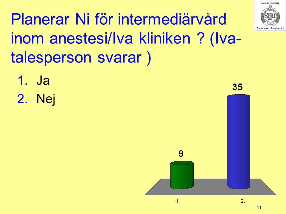 Planerar Ni för intermediärvård inom anestesi/Iva kliniken