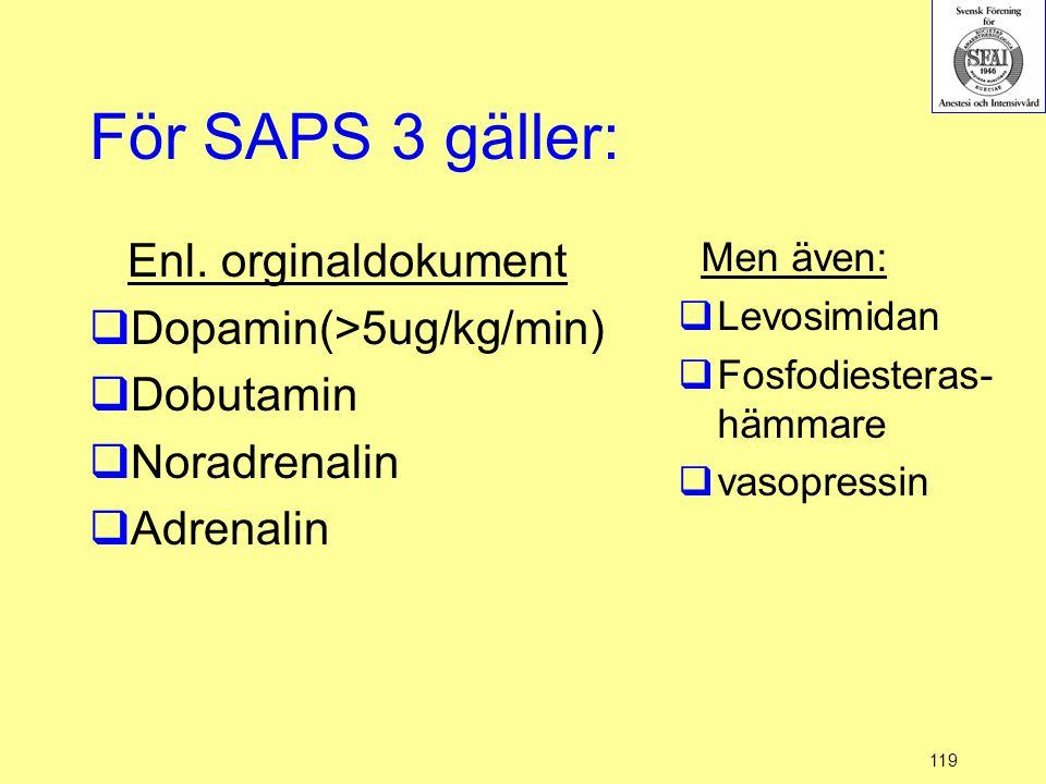 För SAPS 3 gäller: Enl. orginaldokument Dopamin(>5ug/kg/min)