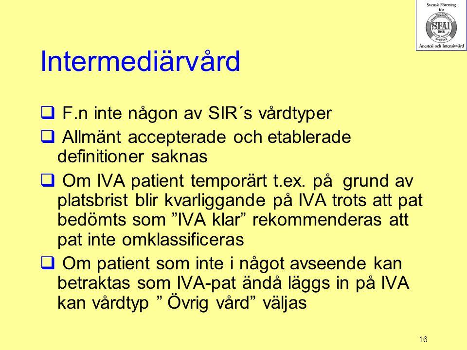 Intermediärvård F.n inte någon av SIR´s vårdtyper