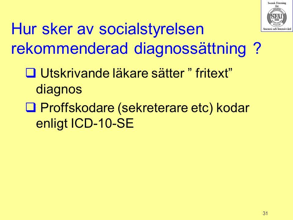 Hur sker av socialstyrelsen rekommenderad diagnossättning